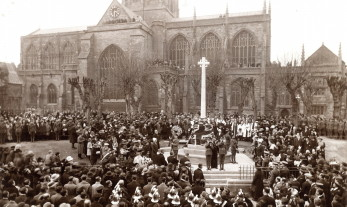 The unveiling of Sherborne War memorial in November 1921